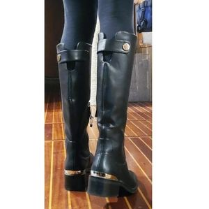 Zara black riding boots with gold accents sz - 7